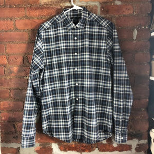 Theory Plaid Blue and Gray Button Up Size Small